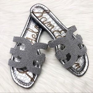 New Sam Edelman Silver Beaded Bay Slide Sandals